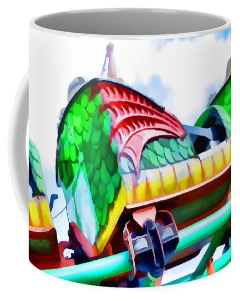 Park Coffee Mug featuring the painting Chinese Dragon Ride 4 by Jeelan Clark