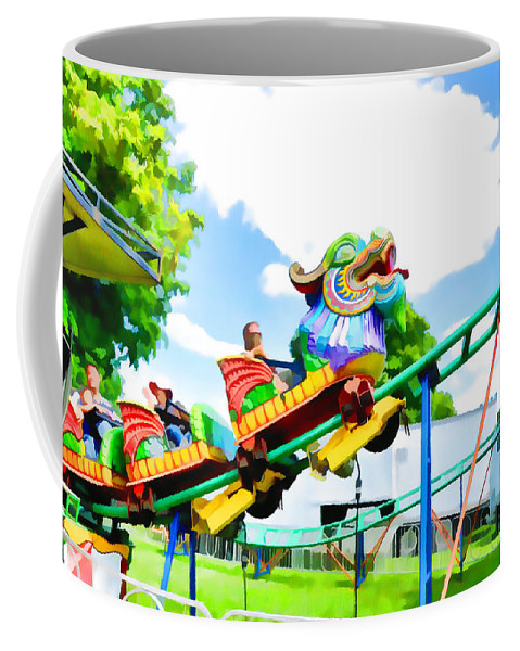 Park Coffee Mug featuring the painting Chinese Dragon Ride 5 by Jeelan Clark