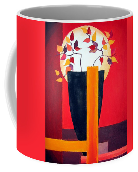 Flower Coffee Mug featuring the painting Chinese Flower On Vase by Alban Dizdari