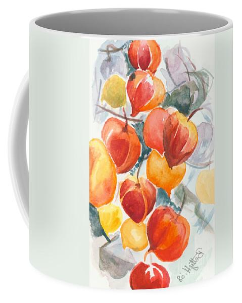 Flowers Coffee Mug featuring the painting Chinese Lanterns - Symbol Of Friendship by Elisabeta Hermann