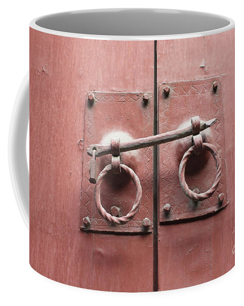 Door Coffee Mug featuring the photograph Chinese Red Door With Lock by Carol Groenen