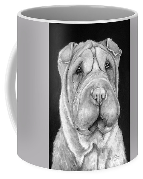 Sharpei Coffee Mug featuring the painting Chinese Sharpei by Portraits By NC