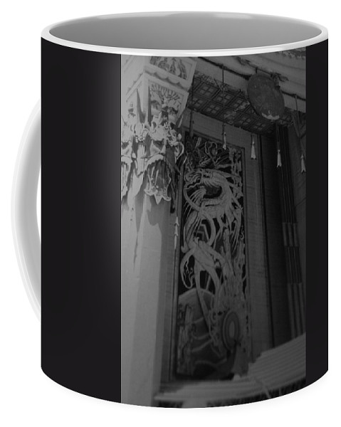 Black And White Coffee Mug featuring the photograph Chinese Theater by Rob Hans
