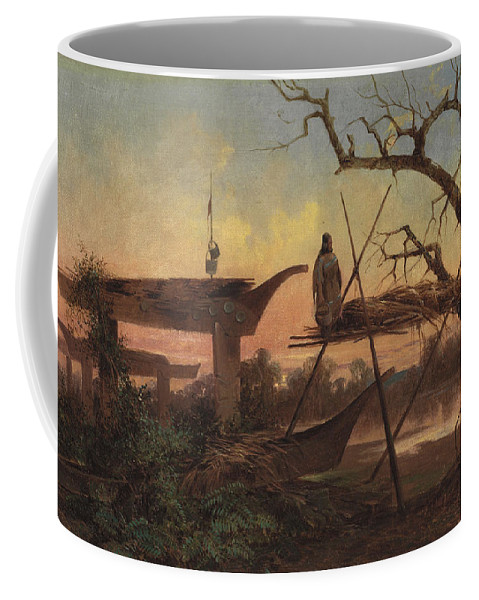Chinook Burial Grounds By John Mix Stanley Coffee Mug featuring the digital art Chinook Burial Grounds by Mark Carlson