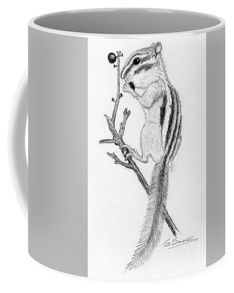 Chipmunk Coffee Mug featuring the drawing Chip by George Sonner