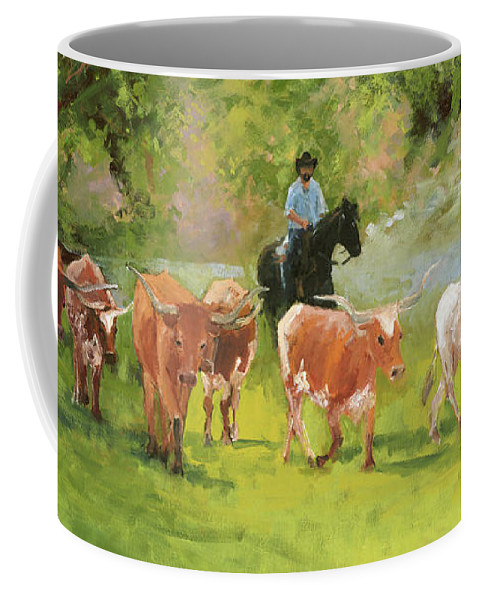 Chisholm Trail Coffee Mug featuring the painting Chisholm Trail Texas Longhorn Cattle Drive Oil Painting By Kmcelwaine by Kathleen McElwaine