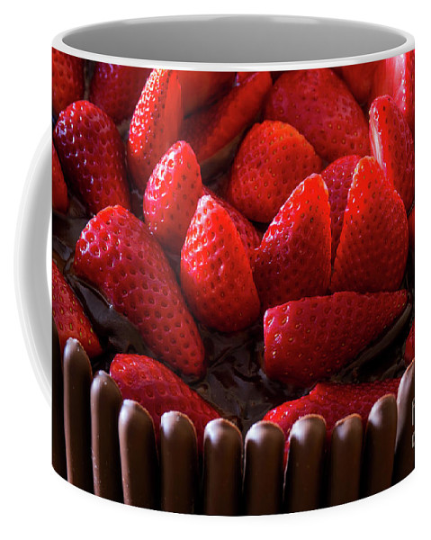 Yellow Coffee Mug featuring the photograph Chocolate And Strawberry Cake by Carlos Caetano