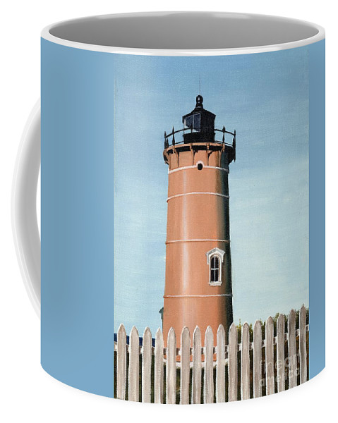 Lighthouse Coffee Mug featuring the painting Chocolate Lighthouse by Mary Rogers