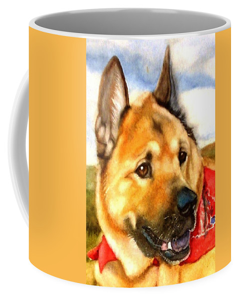 Chow Coffee Mug featuring the painting Chow Shepherd Mix by Marilyn Jacobson