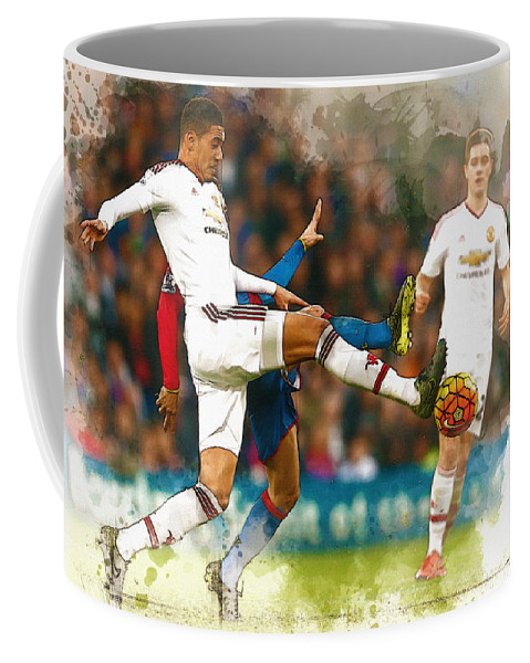 Uefa Chamipons League Coffee Mug featuring the digital art Chris Smalling In Action by Don Kuing