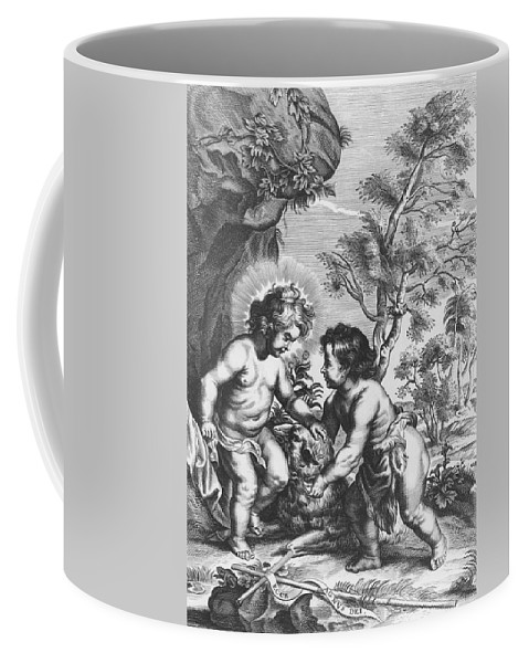 Jesus Coffee Mug featuring the drawing Christ And John The Baptist Behold The Lamb Of God by Gaspar Huberti