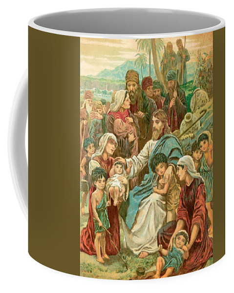 Christ Coffee Mug featuring the painting Christ Blessing Little Children by English School