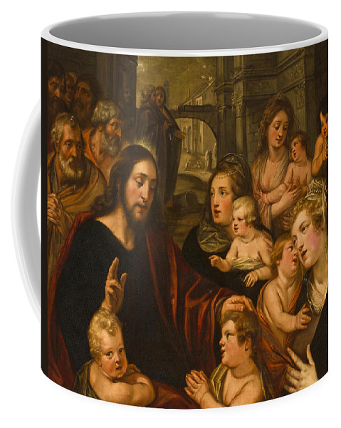 Studio Of Artus Wolfaerts Coffee Mug featuring the painting Christ Blessing The Children by Studio of Artus Wolfaerts