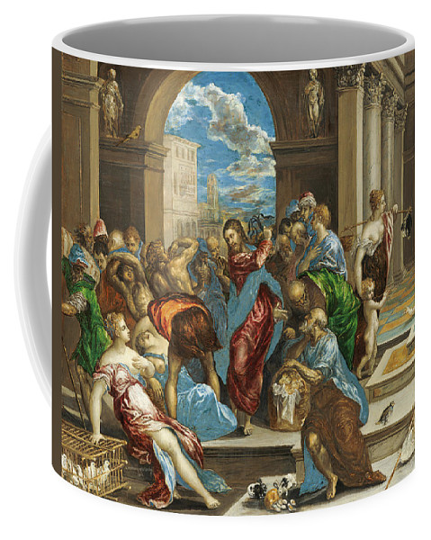 Christ Coffee Mug featuring the painting Christ Cleansing The Temple by El Greco