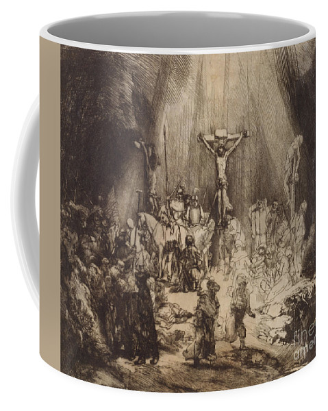 Christ Coffee Mug featuring the drawing Christ Crucified Between The Two Thieves The Three Crosses, 1653 by Rembrandt