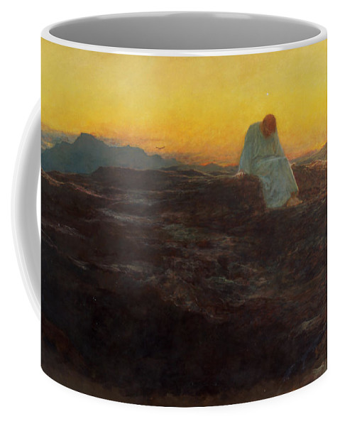 Christ In The Wilderness Coffee Mug featuring the painting Christ In The Wilderness by Briton Riviere