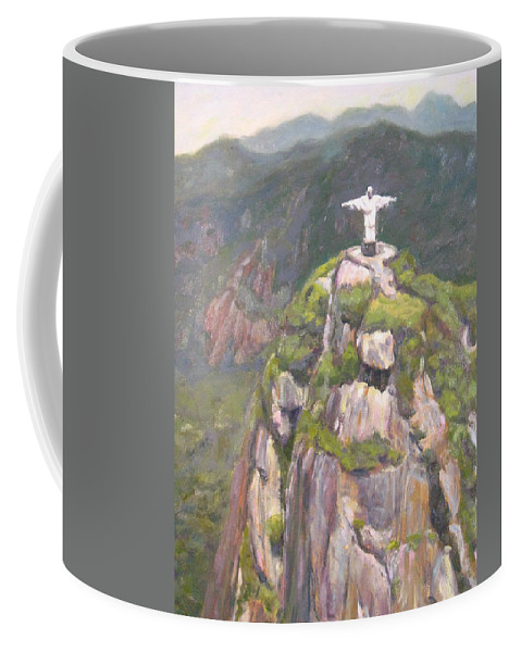 Monument Coffee Mug featuring the painting Christ The Redeemer by Robie Benve