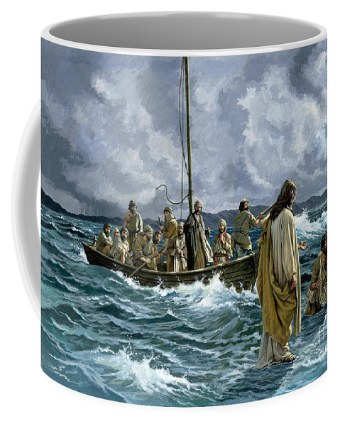 Christ Coffee Mug featuring the painting Christ Walking On The Sea Of Galilee by Anonymous