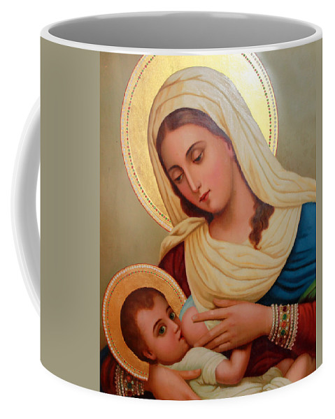 Christianity Coffee Mug featuring the painting Christianity - Baby Jesus by Munir Alawi