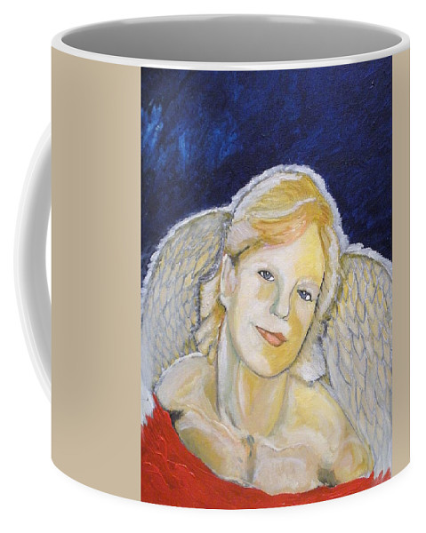 Angel Coffee Mug featuring the painting Christmas Angel  Finished by J Bauer