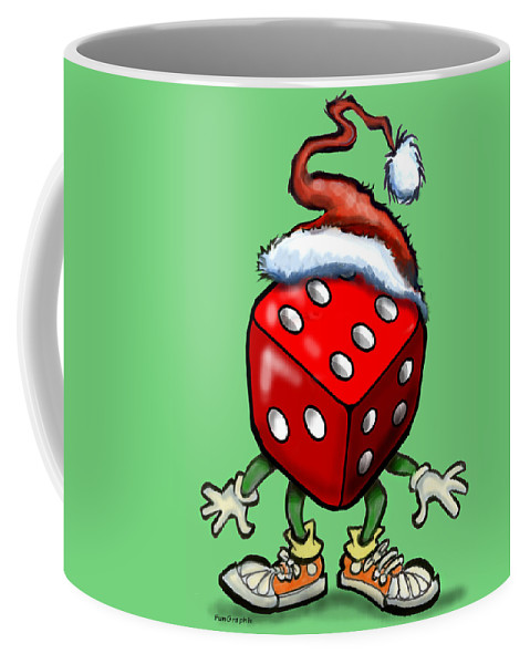 Christmas Coffee Mug featuring the greeting card Christmas Casino Party by Kevin Middleton