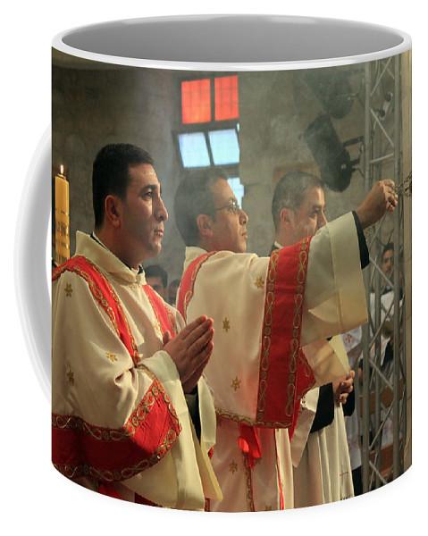 Palestine Coffee Mug featuring the photograph Christmas Celebration At Nativity Church by Munir Alawi