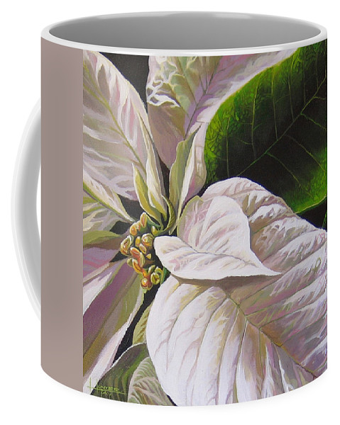 White Poinsettia Coffee Mug featuring the painting Christmas Eve by Hunter Jay