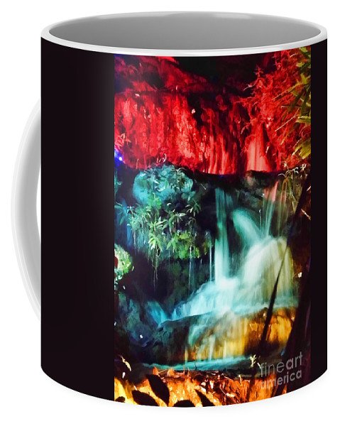 Christmas Coffee Mug featuring the photograph Christmas Lights At The Waterfall by D Hackett