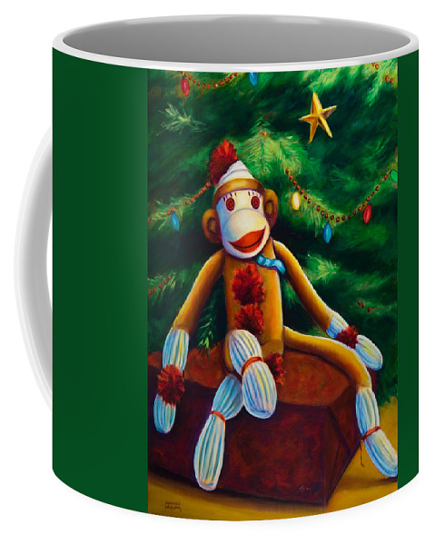 Sock Monkey Coffee Mug featuring the painting Christmas Made Of Sockies by Shannon Grissom