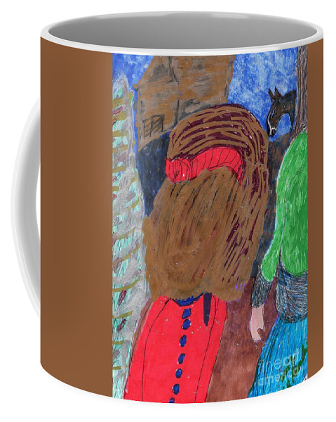 Two Ladies Gazing At A Horse In The Background Coffee Mug featuring the mixed media Christmas On A Farm by Elinor Helen Rakowski