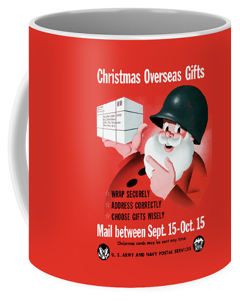 Military Christmas Coffee Mug featuring the painting Christmas Overseas Gifts -- Ww2 by War Is Hell Store