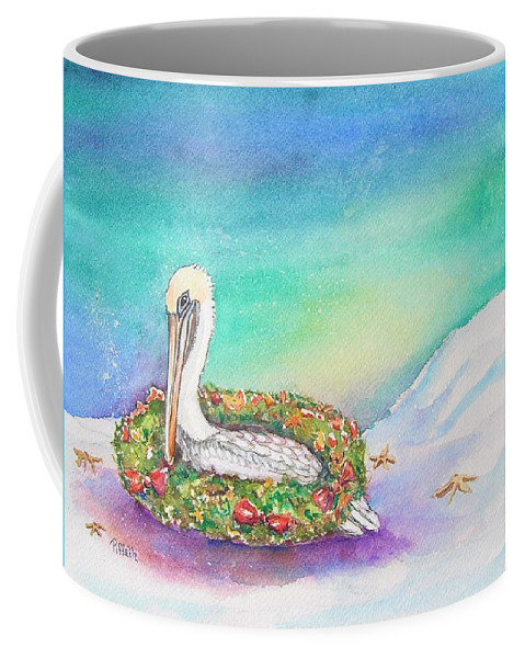 Pelican Coffee Mug featuring the painting Christmas Pelican by Patricia Piffath