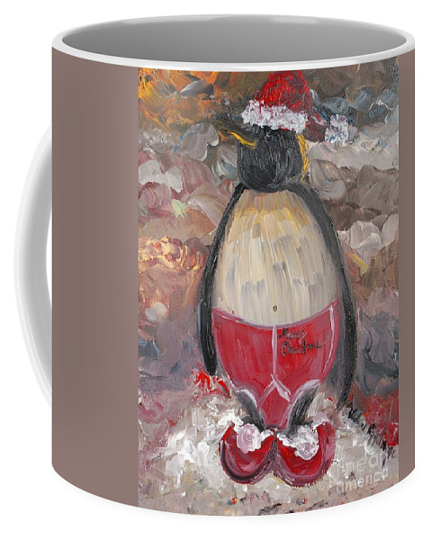 Penguin Coffee Mug featuring the painting Christmas Penguin by Nadine Rippelmeyer