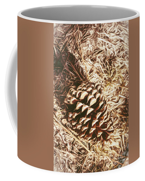 Brown Coffee Mug featuring the painting Christmas Pinecone On Barn Floor by Jorgo Photography - Wall Art Gallery