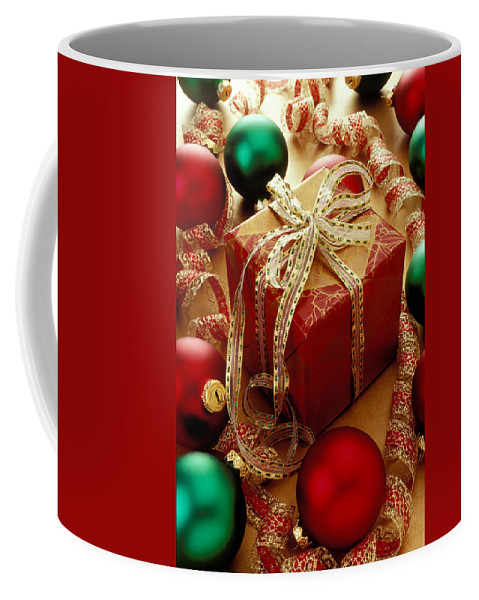 Christmas Coffee Mug featuring the photograph Christmas Present And Ornaments by Garry Gay