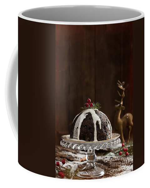 Christmas Coffee Mug featuring the photograph Christmas Pudding With Cream by Amanda Elwell