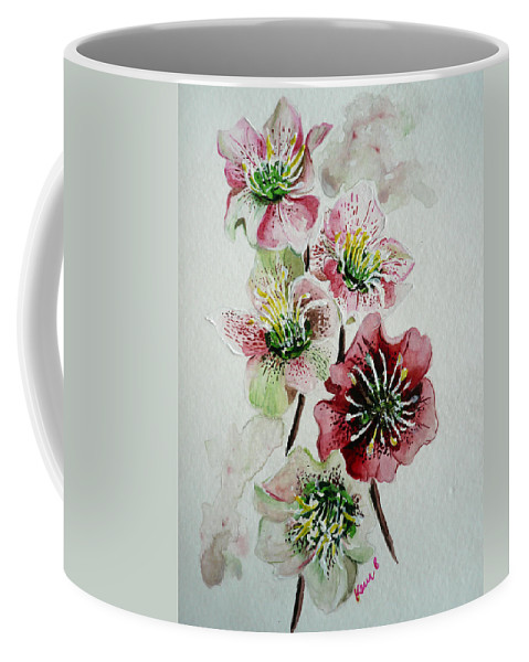 Floral Flower Pink Coffee Mug featuring the painting Christmas Rose by Karin Dawn Kelshall- Best