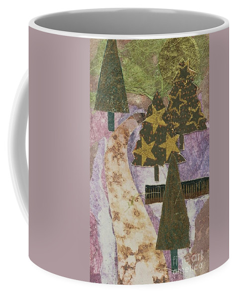 Greeting Coffee Mug featuring the mixed media Christmas Stroll Card by Sharon Eng