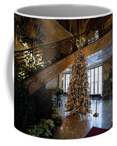 Travel Coffee Mug featuring the photograph Christmas Tree And Staircase Marble House Newport Rhode Island by Jason O Watson