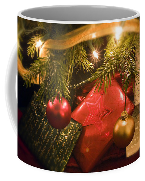 Christmas Coffee Mug featuring the photograph Christmas Tree Decorations And Gifts by Mal Bray