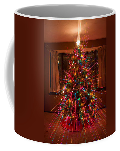 Abstracts Coffee Mug featuring the photograph Christmas Tree Light Spikes Colorful Abstract by James BO Insogna