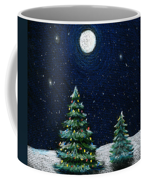 Christmas Trees Coffee Mug featuring the drawing Christmas Trees in the Moonlight by Nancy Mueller