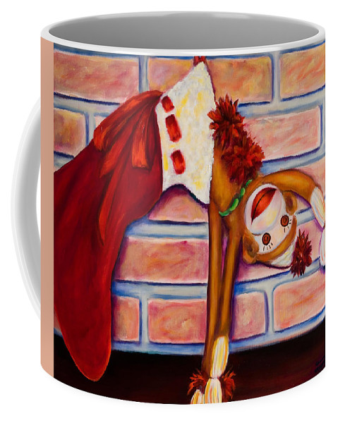 Sock Monkey Coffee Mug featuring the painting Christmas With Care by Shannon Grissom