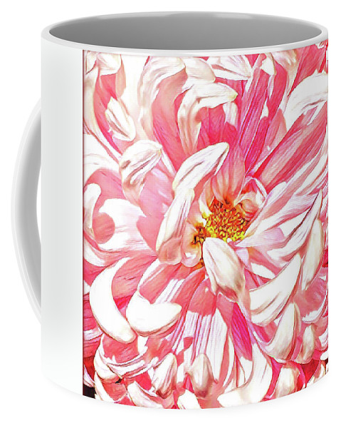 Pink Coffee Mug featuring the painting Chrysanthemum In Pink by Shadia Derbyshire