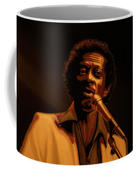 Chuck Berry Coffee Mug featuring the mixed media Chuck Berry Gold by Paul Meijering