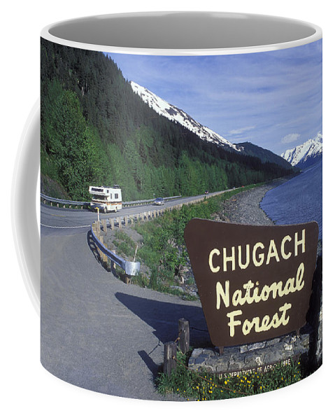 Roads Coffee Mug featuring the photograph Chugach National Forest Sign And Scenic by Rich Reid