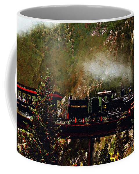 Americana Coffee Mug featuring the painting Chugging Across The Devil's Gate by RC DeWinter