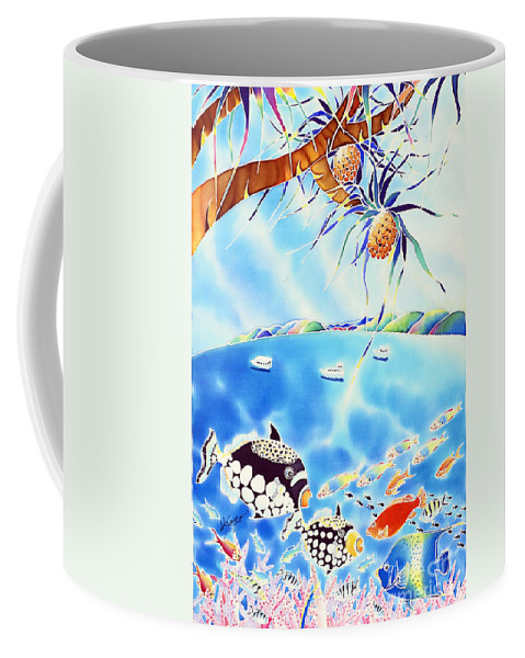 Sea Coffee Mug featuring the painting Churaumi Paradise by Hisayo Ohta