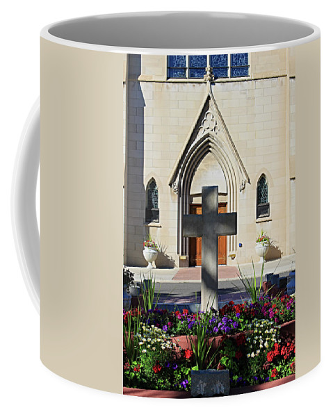 Usa Coffee Mug featuring the photograph Church Entrance Cross by Anthony W Weir