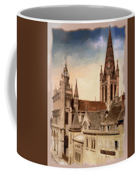 France Coffee Mug featuring the photograph Church Of Notre-dame Of Dijon France - Remastered by Carlos Diaz